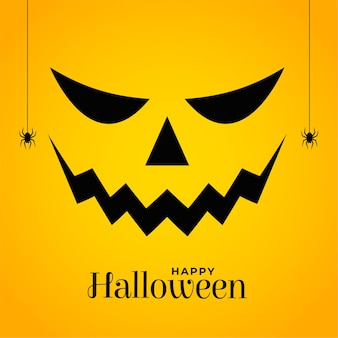 Cara assustadora de abóbora de halloween em fundo amarelo