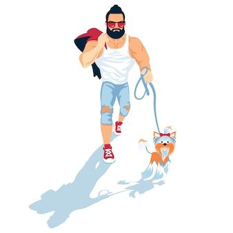 Cara barbudo leva o cachorro para passear