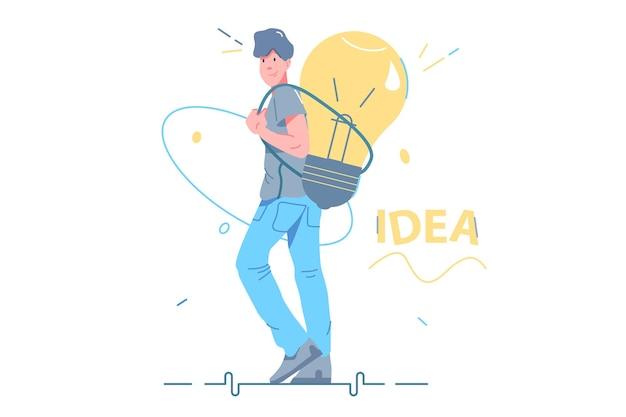 Cara carrega uma ideia inteligente por trás da ilustração vetorial. grande lâmpada como símbolo do estilo plano de geração de ideia criativa. inteligência humana, inspiração, conceito de ideia inovadora. isolado em fundo branco