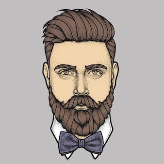 Cara cheia de homem barbudo com gravata borboleta