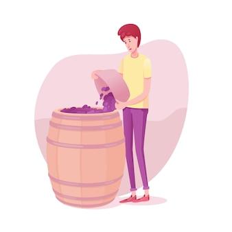 Cara colocando uvas na ilustração do barril, processo de vinificação