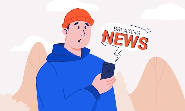 Cara com cara de chocado segurando o smartphone com bolha de notificação de notícias de última hora. jovem de capuz e chapéu de malha surpreso e confuso com as últimas notícias andando no parque. estresse da informação.