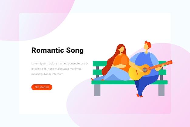 Cara com guitarra canta música romântica, garota no banco. ilustração plana