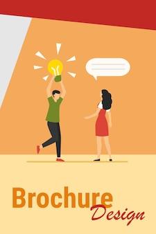 Cara compartilhando uma ideia brilhante com um amigo, namorada ou colega. homem segurando ilustração em vetor plana lâmpada brilhante. localização, conceito de descoberta para banner, design de site ou página de destino