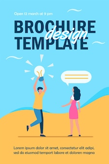 Cara compartilhando uma ideia brilhante com um amigo, namorada ou colega modelo de folheto