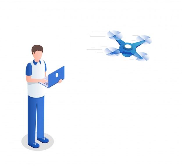 Cara controlando ilustração isométrica quadrocopter. jovem com laptop usando o personagem de desenho animado de helicóptero não tripulado.