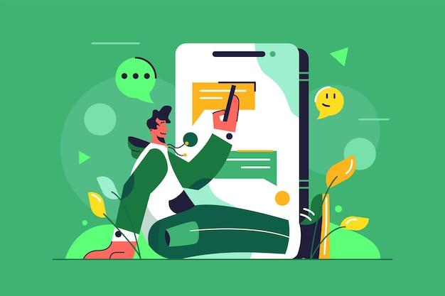 Cara conversando sentado no chão por meio de uma grande ilustração de telefone celular