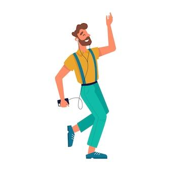 Cara dançando com smartphone, ouvindo música em fones de ouvido