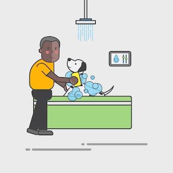 Cara dando seu cachorro um vetor de banho