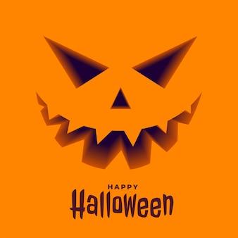 Cara de abóbora assustadora em 3d estilo fundo halloween