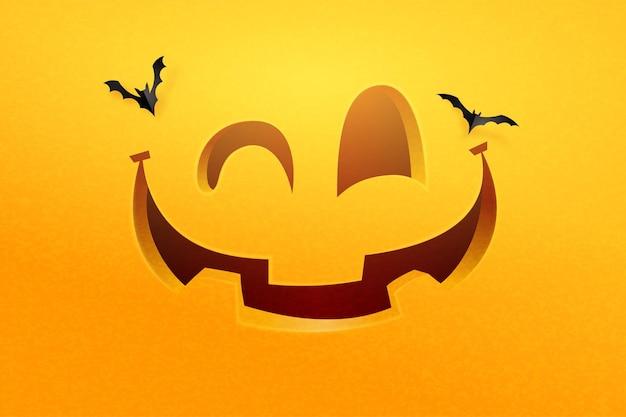 Cara de abóbora de halloween feliz em fundo laranja. ilustração em vetor.