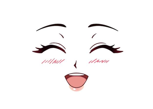 Cara de anime feliz. olhos fechados estilo mangá, nariz pequeno e boca kawaii. bochechas coradas. mão-extraídas ilustração vetorial.