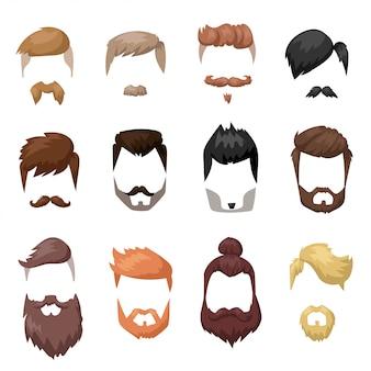 Cara de barba e cabelo penteados corte coleção de desenhos animados plana de máscara