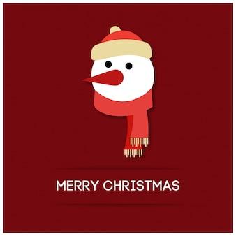 Cara de boneco de neve de natal com tipografia simples em fundo vermelho