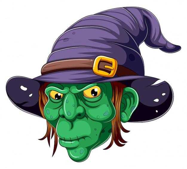 Cara de bruxa dos desenhos animados sobre fundo branco