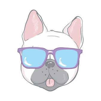 Cara de buldogue francês coração de cachorro ilustração de óculos desenho vetorial