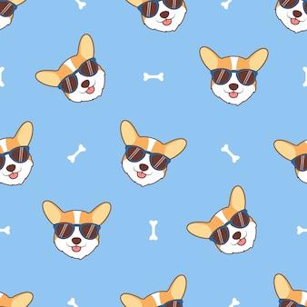 Cara de cachorro bonito corgi com padrão sem emenda de óculos de sol dos desenhos animados