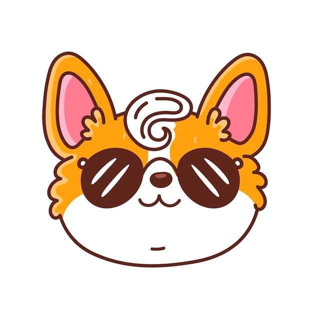 Cara de cachorro bonito feliz corgi em óculos de sol. ícone do personagem dos desenhos animados kawaii.