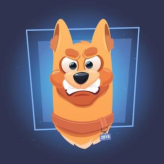 Cara de cachorro bravo em fundo azul