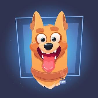 Cara de cachorro com a boca aberta no fundo azul