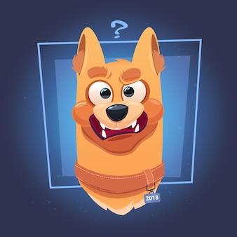 Cara de cachorro confuso com ponto de interrogação no fundo azul
