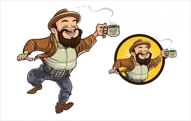 Cara de café dos desenhos animados