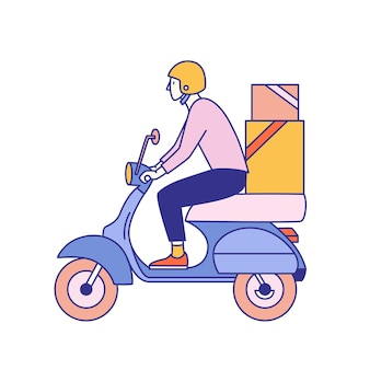 Cara de capacete andando de scooter com caixas de papelão com produtos de mercearia, loja, supermercado ou restaurante