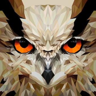Cara de coruja com desenho de geometria