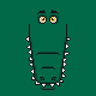 Cara de crocodilo verde engraçado dos desenhos animados no design de pixel.