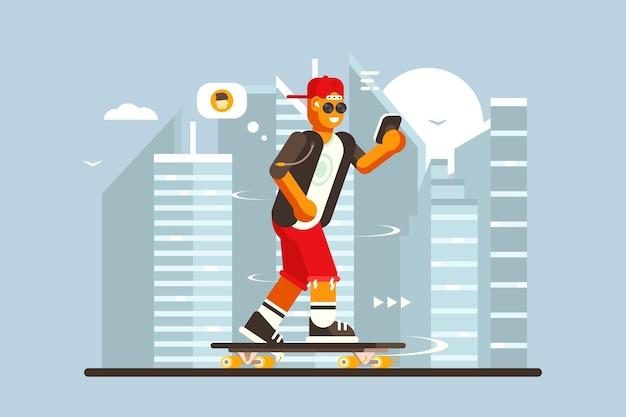 Cara de desenho animado andando em ilustração de skate ao ar livre