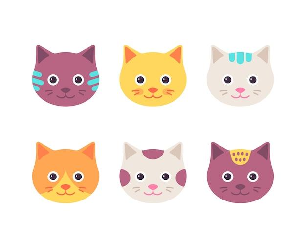 Cara de gato, cabeça de gatinho fofo, conjunto de caracteres animal feliz dos desenhos animados