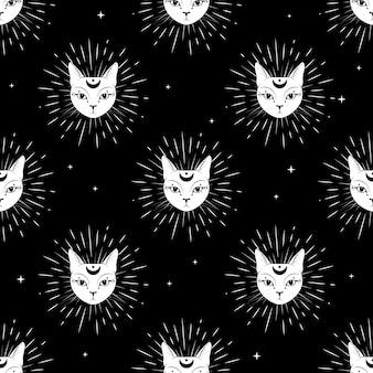 Cara de gato com a lua no céu noturno sem costura de fundo.