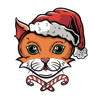 Cara de gato engraçado bonito no chapéu de papai noel com doces de natal
