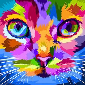 Cara de gato perto de olhos coloridos