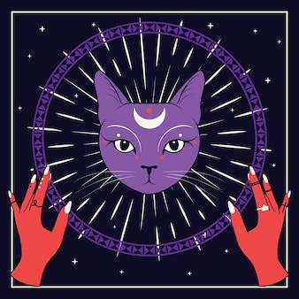 Cara de gato violeta com lua no céu noturno com moldura redonda ornamental.