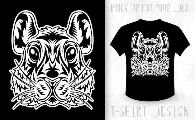 Cara de hamster. idéia para impressão de t-shirt no estilo monocromático vintage.