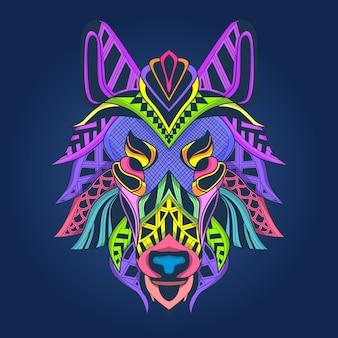 Cara de lobo de arte abstrata