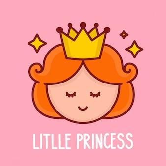 Cara de menina princesa engraçada bonito. ilustração de personagem de desenho animado. design para cartão de criança, t-shirt. isolado no fundo branco. bonito rosto de princesa com conceito de coroa e estrelas