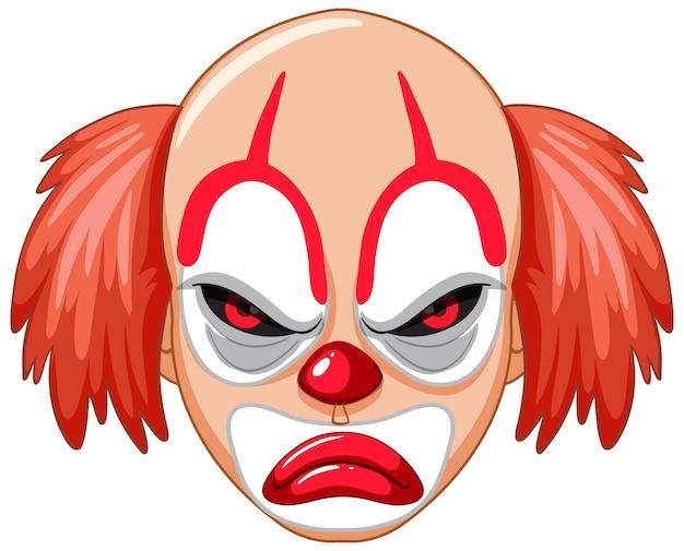Cara de palhaço assustador em fundo branco