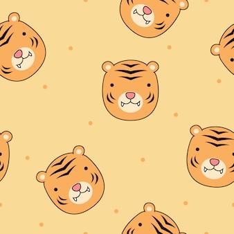 Cara de tigre bonito dos desenhos animados sem costura padrão vector