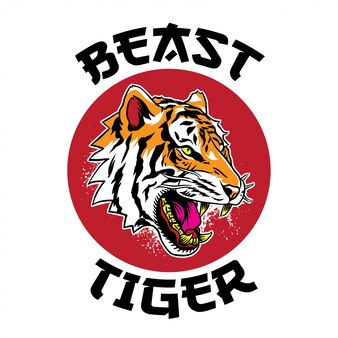 Cara de tigre bravo com tigre de fera de texto