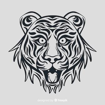 Cara de tigre com estilo tribal