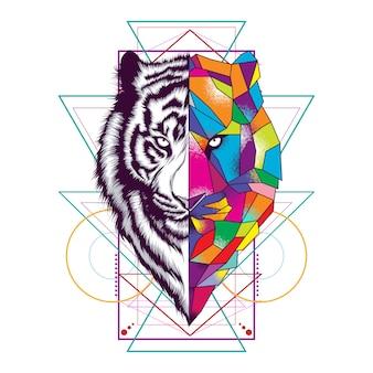 Cara de tigre com ornamento de geometria sagrada