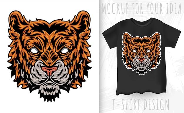 Cara de tigre vintage. título vintage estilo isolado