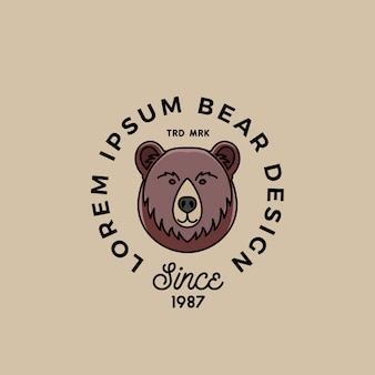 Cara de urso de desenho de estilo de linha com tipografia retrô abstrata