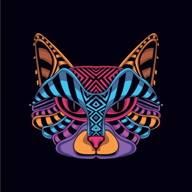 Cara decorativa do gato na cor de néon do fulgor