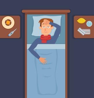Cara doente na cama com sintomas de resfriado, gripe. personagem de desenho animado no travesseiro com cobertor e lenço, remédio, limão, termômetro. ilustração de homens insalubres com febre alta, dor de cabeça.