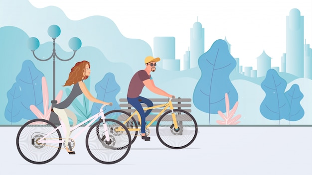Cara e a garota em um passeio de bicicleta no parque. conceito de recreação e esportes. ilustração.