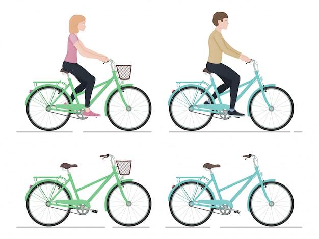 Cara e menina andando de bicicleta, personagens e bicicletas no estilo cartoon, vista lateral, estilo de vida ativo, esportes,