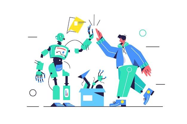 Cara e robô elétrico dão 5 um ao outro, caixa com peças de reposição, mais cinco